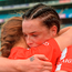 Cork's Meabh Cahalane and team-mate Ashling Thompson, behind, celebrate after the Liberty Insurance All-Ireland Senior Camogie Final match between Cork and Kilkenny at Croke Park in Dublin. Photo by Piaras Ó Mídheach/Sportsfile