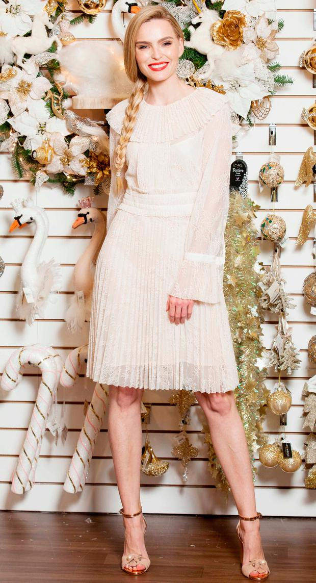 Model Sarah Morrissey launches the new Christmas space at Arnotts. Picture: Photocall Ireland