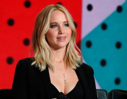 Actor Jennifer Lawrence attends a news conference to promote the film