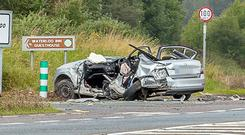 The scene of the crash on the N20 Cork - Mallow road near to the slip road to Waterloo where James Baker and Peggy Sue Adams lost their lives Picture: John Delea.
