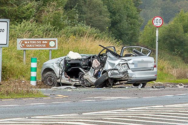 11/09/2017 - Fatal Collision N20 (Waterloo): The scene of the crash on the N20 Cork - Mallow road near to the slip road to Waterloo where a man and a woman lost their lives at around 11am yesterday morning in a three vehicle collision. Picture: John Delea.