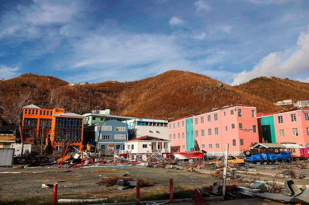 A handout picture released by the British Ministry of Defence (MOD) on September 10, 2017 shows destruction in Road Town, Tortola, British Virgin Islands left by Hurricane Irma on September 10, 2017