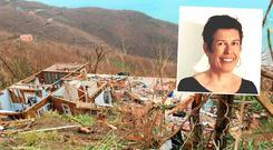 The damage in Tortola, and Irish woman Clair Burke, inset