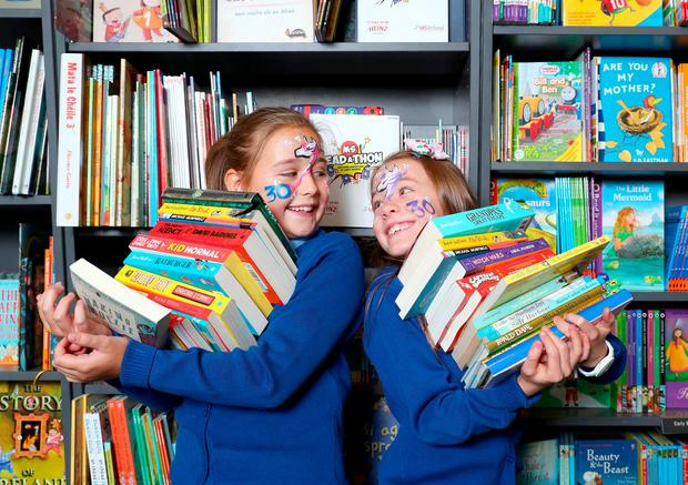 Robyn Murphy and Ruby Dodd (both 9), from St Finian's Primary School in Newcastle, Co Dublin, at the launch. Photo: Marc O'Sulivan