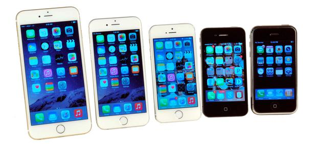 iPhone through the ages: (left to right) the 7 Plus, 6, 5, 4 and the original model.