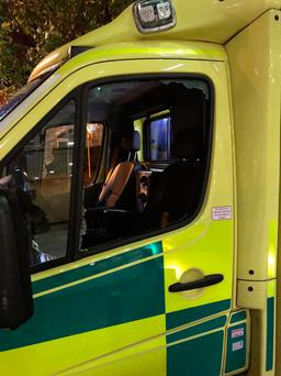 The ambulance's windows were smashed outside the Mater Hospital. Picture: Swords Ambulance