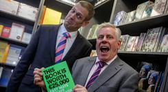 Karl Deeter and Charlie Weston at the launch of their new book at Hodges and Figgis in Dublin last night. Photo: Arthur Carron