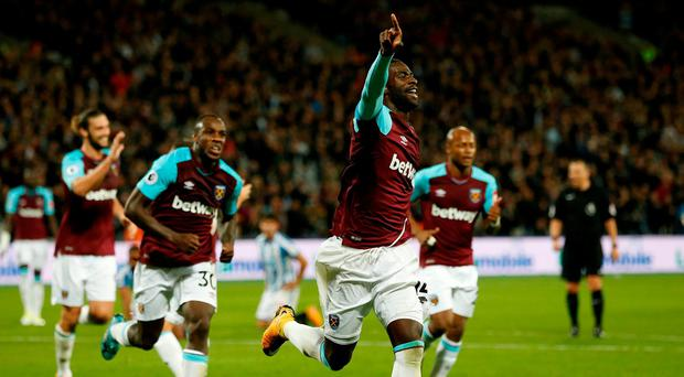 West Ham United's Pedro Obiang celebrates scoring their first goal