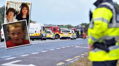 Insets: Seán Wilson, his grandmother Mary Ann and mother Marcella, who were killed in the road collision near Claremorris in Co Mayo
