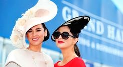 Suzanne McGarry and Maria Osbourne at The Curragh Racecourse on day two of Longines Irish Champions Weekend 2017. Picture: Leon Farrell/Photocall Ireland.