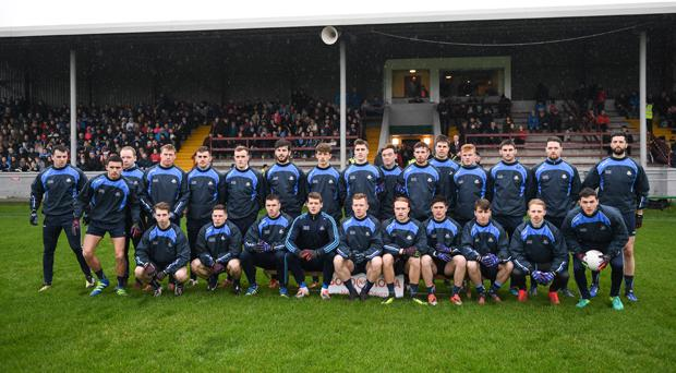 The Dublin squad before the Bord na Mona O'Byrne Cup Final match between Louth and Dublin at the Gaelic Grounds in Drogheda on January 29