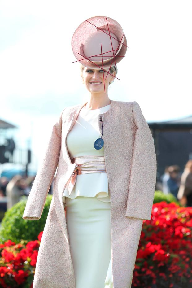 Winner of best dress lady Laura Hanlon from Roscommon at The Curragh Racecourse on day two of Longines Irish Champions Weekend 2017