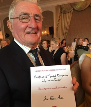 """Joe MacAvin, co-founder of the 3Ts charity, and winner of the """"Age is no barrier"""" special recognition award."""