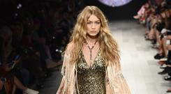 Model Gigi Hadid walks the runway for Anna Sui fashion show during New York Fashion Week: The Shows at Gallery 1, Skylight Clarkson Sq on September 11, 2017 in New York City. (Photo by Frazer Harrison/Getty Images For NYFW: The Shows)