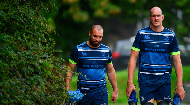 28 August 2017; Leinster's Scott Fardy, left, and Devin Toner during squad training at UCD in Dublin. Photo by Ramsey Cardy/Sportsfile