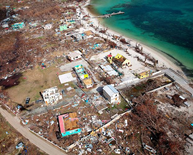 Storm damage is seen from the air after hurricane Irma passed Tortola, in the British Virgin Islands. Captain George Eatwell RM/Ministry of Defence handout via REUTERS