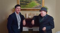 Rory McIlroy (L) with Van Morrison at the Slieve Donard Hotel. Photo: Charles McQuillan/Getty Images