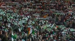 Celtic fans sing You'll Never Walk Alone.