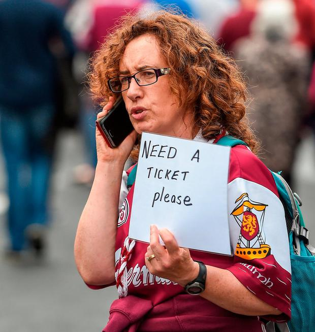 A Galway fan before the hurling decider earlier this month. Photo by Daire Brennan/Sportsfile