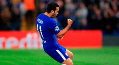 Pedro celebrates after scoring. Photo: John Walton/PA Wire