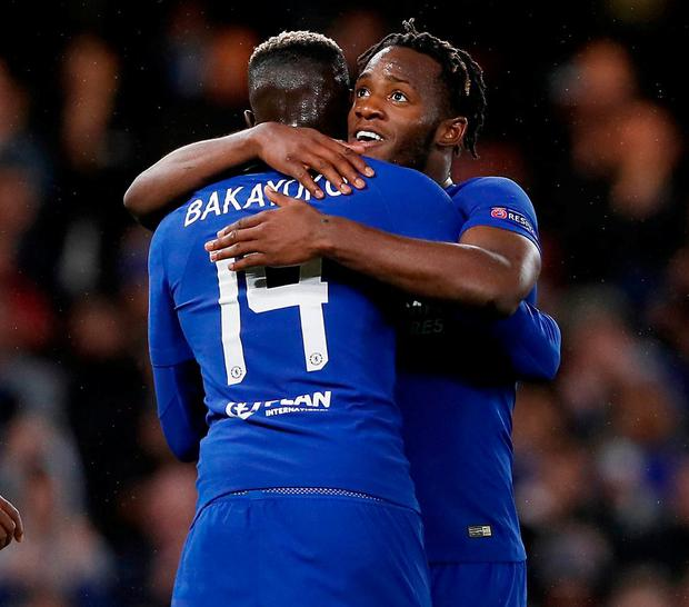 Chelsea's Michy Batshuayi, right, celebrates with his teammate Tiemoue Bakayoko. Photo: Kirsty Wigglesworth/AP Photo