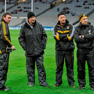 1 February 2014; The Kilkenny management team, left to right, James McGarry, Brian Cody, Michael Dempsey, and Derek Lyng, watch the cup presentation from the pitch. Bord na Mona Walsh Cup Final, Dublin v Kilkenny, Croke Park, Dublin. Picture credit: Dáire Brennan / SPORTSFILE