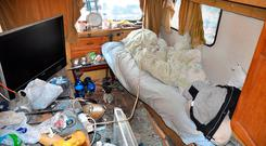 A caravan which the victims had to live in. Photo: Lincolnshire Police/PA