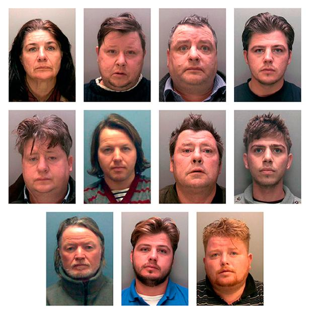 CONVICTED - Top row from left: Bridget Rooney, Gerald Rooney, John Rooney (53), John Rooney (31). Middle row from left: Lawrence Rooney, Martin Rooney (35), Martin Rooney Snr (35), Martin Rooney (23). Bottom row from left: Patrick Rooney (54), Patrick Rooney (31), and Peter Doran. Martin Rooney Snr and Patrick Rooney Snr were given suspended sentences while the nine others all got jail terms ranging from 15 to six years in prison. Photo: PA
