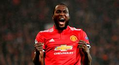 Romelu Lukaku of Manchester United celebrates
