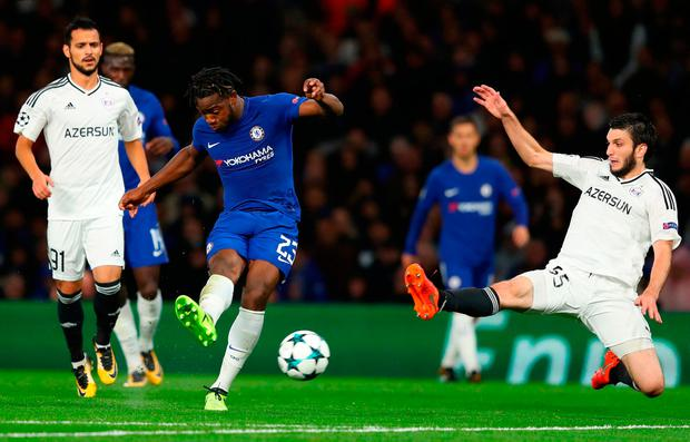 LONDON, ENGLAND - SEPTEMBER 12: Michy Batshuayi of Chelsea scores his sides fifth goal during the UEFA Champions League Group C match between Chelsea FC and Qarabag FK at Stamford Bridge on September 12, 2017 in London, United Kingdom. (Photo by Richard Heathcote/Getty Images)