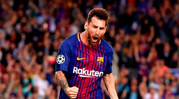 BARCELONA, SPAIN - SEPTEMBER 12: Lionel Messi of Barcelona celebrates scoring his sides first goal during the UEFA Champions League Group D match between FC Barcelona and Juventus at Camp Nou on September 12, 2017 in Barcelona, Spain. (Photo by Alex Caparros/Getty Images)