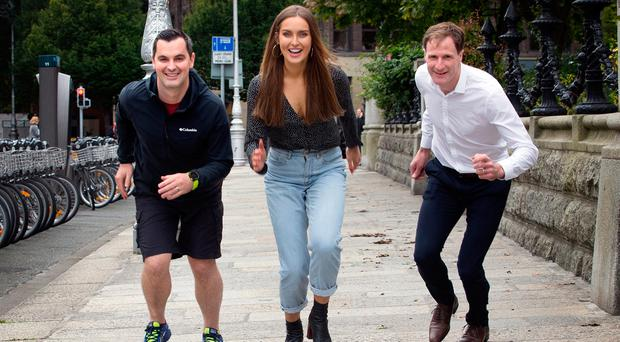 Karl Henry, Operation Transformation fitness guru; Roz Purcell, bestselling cookery author; and Gerry Hussey, mental health expert, at the launch of Ireland's Fittest Company with Eversheds Sutherland at The National Concert Hall. Photo: Tony Gavin