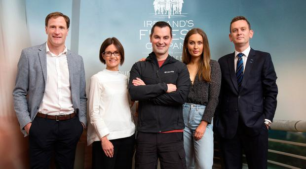 From left: Gerry Hussey, mental health expert; Aisling Gannon, partner and head of CSR at Eversheds Sutherland; Karl Henry, Operation Transformation fitness guru; Roz Purcell, model and bestselling cookery author ; and Alan Murphy, Managing Partner Eversheds Sutherland, at the launch of Ireland's Fittest Company at The National Concert Hall. Photo: Tony Gavin