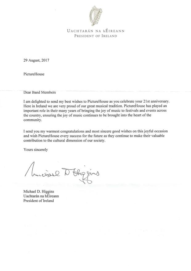 Michael D Higgins' letter of support to Picture House