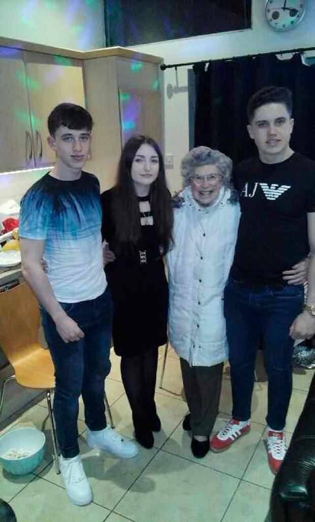 Esther Costello with family in the hospice