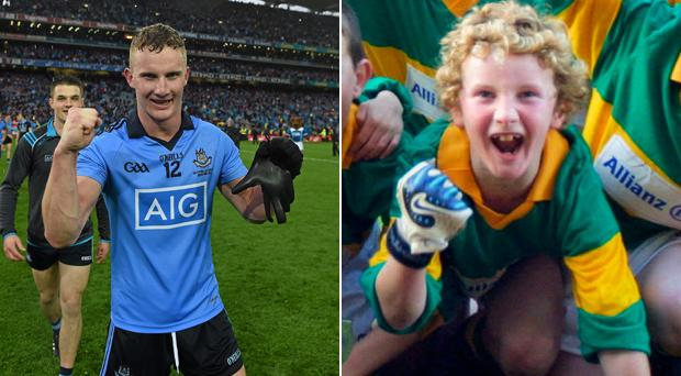 Ciaran Kilkenny after last year's All-Ireland victory and during his primary school days with Scoil Olibhéir, Coolmine.