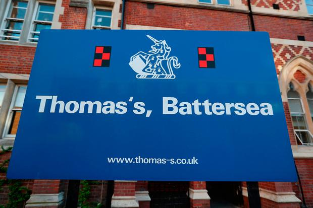 A sign outside Thomas's Battersea in London, as a review has been launched of security arrangements at the school attended by Prince George after a 40-year-old woman was arrested on suspicion of attempted burglary, Scotland Yard said. Photo: Jonathan Brady/PA Wire