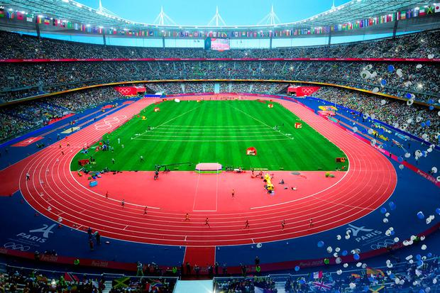 This computer generated image provided by Paris 2024 on Wednesday Sept. 13, 2017, shows the Stade de France in Paris as an Olympic venue as the city becomes ready to host the Olympic Games in 2024. (Paris 2024 via AP)