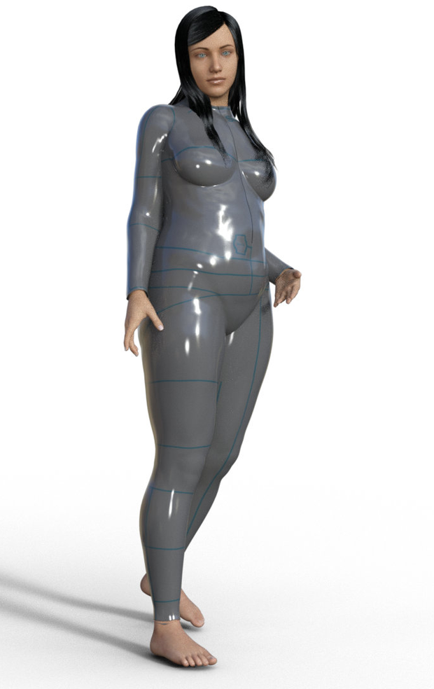 A computer representation of the size-calculating onesie produced by Size/U