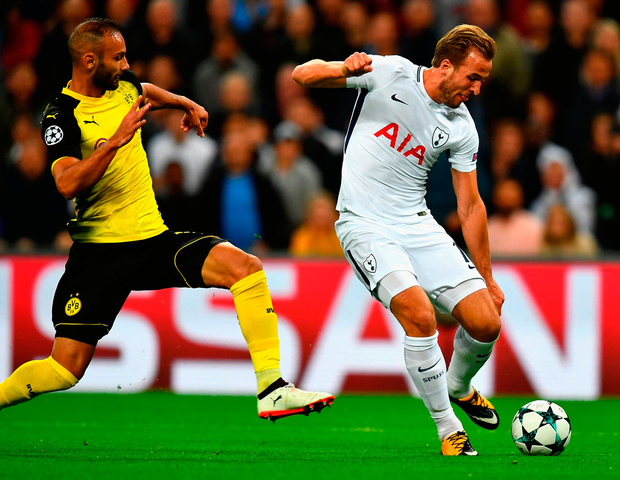 Spurs' striker Harry Kane scores the opener against Dortmund at Wembley last night. Photo: Getty Images