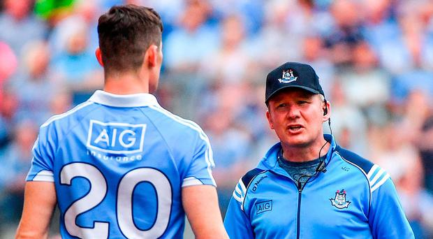 Dublin manager Jim Gavin speaks with Diarmuid Connolly before his late introduction against Tyrone. Photo: RAMSEY CARDY/SPORTSFILE