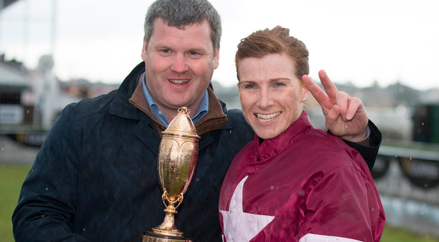 Gordon Elliott and Lisa O'Neill celebrate after Potter Point's victory in the Kerry National at Listowel. Photo: Racing Post