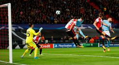 Soccer Football - Champions League - Feyenoord vs Manchester City - De Kuip, Rotterdam, Netherlands - September 13, 2017 Manchester City's John Stones scores their fourth goal Action Images via Reuters/Carl Recine