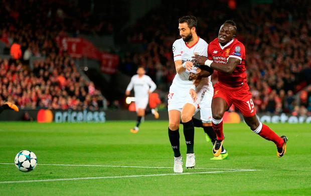 Liverpool's Sadio Mane (right) in action during the UEFA Champions League, Group E match at Anfield, Liverpool. PRESS ASSOCIATION Photo. Picture date: Wednesday September 13, 2017. See PA story SOCCER Liverpool. Photo credit should read: Peter Byrne/PA Wire