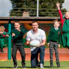 Tommy Bowe pictured with Oisin O'Kelly, Andreas Carauleanu, Ben Donlon and Emma Rotaru of Our Lady's NS Clonskeagh at the launch of Subway's two-year partnership with Sports for Schools. Photo: ©INPHO/Morgan Treacy