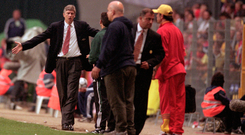 Arsene Wenger shows his frustration during Arsenal's defeat to Galatasary in the 2000 UEFA Cup final.