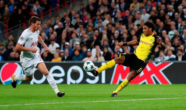 Borussia Dortmund's Pierre-Emerick Aubameyang scores a goal but it is disallowed for offside. Photo: REUTERS
