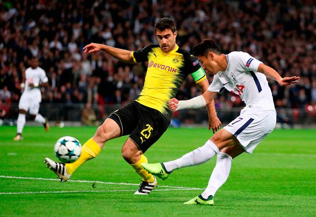 Son Heung-Min gives Tottenham an early lead. Photo: PA