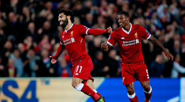 Soccer Football - Champions League - Liverpool vs Sevilla - Anfield, Liverpool, Britain - September 13, 2017 Liverpool's Mohamed Salah celebrates scoring their second goal with Georginio Wijnaldum Action Images via Reuters/Jason Cairnduff