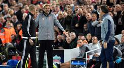 Liverpool boss Jurgen Klopp clashed with the Sevilla coaching staff at Anfield